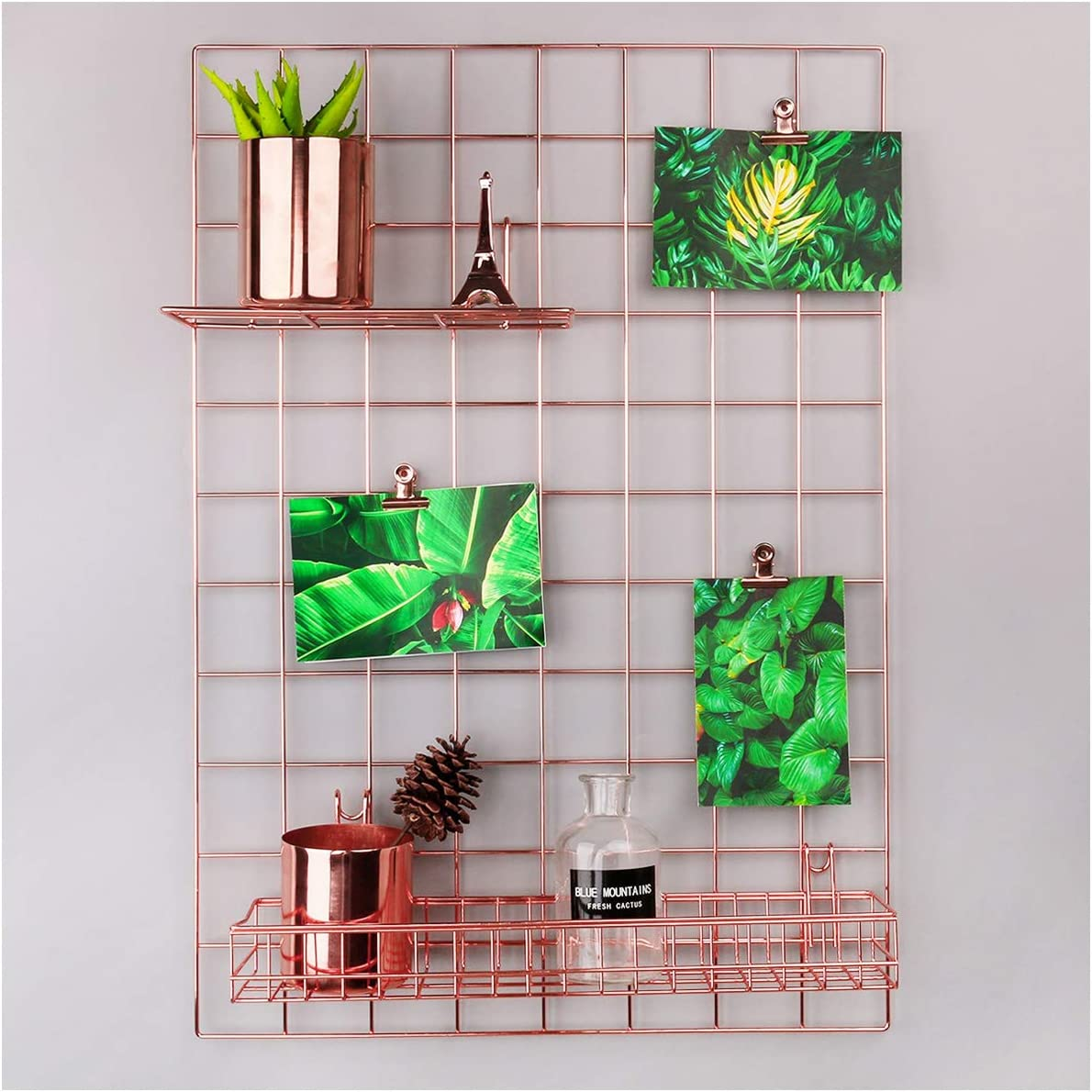 SIMMER STONE Rose Gold Wall Grid Panel for Photo Hanging Display & Wall Decoration Organizer, Multi-Functional Wall Storage Display Grid, 5 Clips & 4 Nails Offered, Set of 1, 17.7