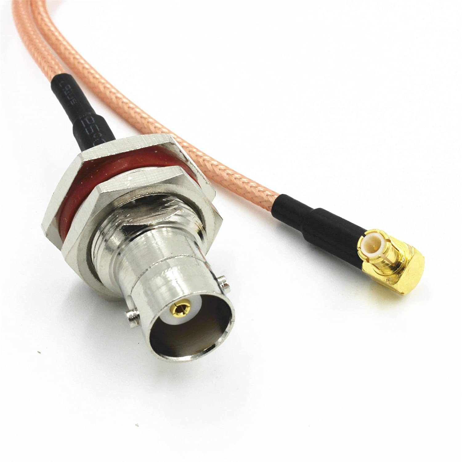 1 x BNC Female Nut Bulkhead to MCX Male Right Angle RG316 Pigtail RF Cable 15cm high quality quick ship from US