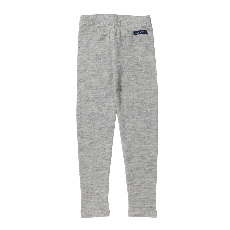 Marl-Gray Soft Kids Base Layer 10-12Y Merino Wool Long Johns