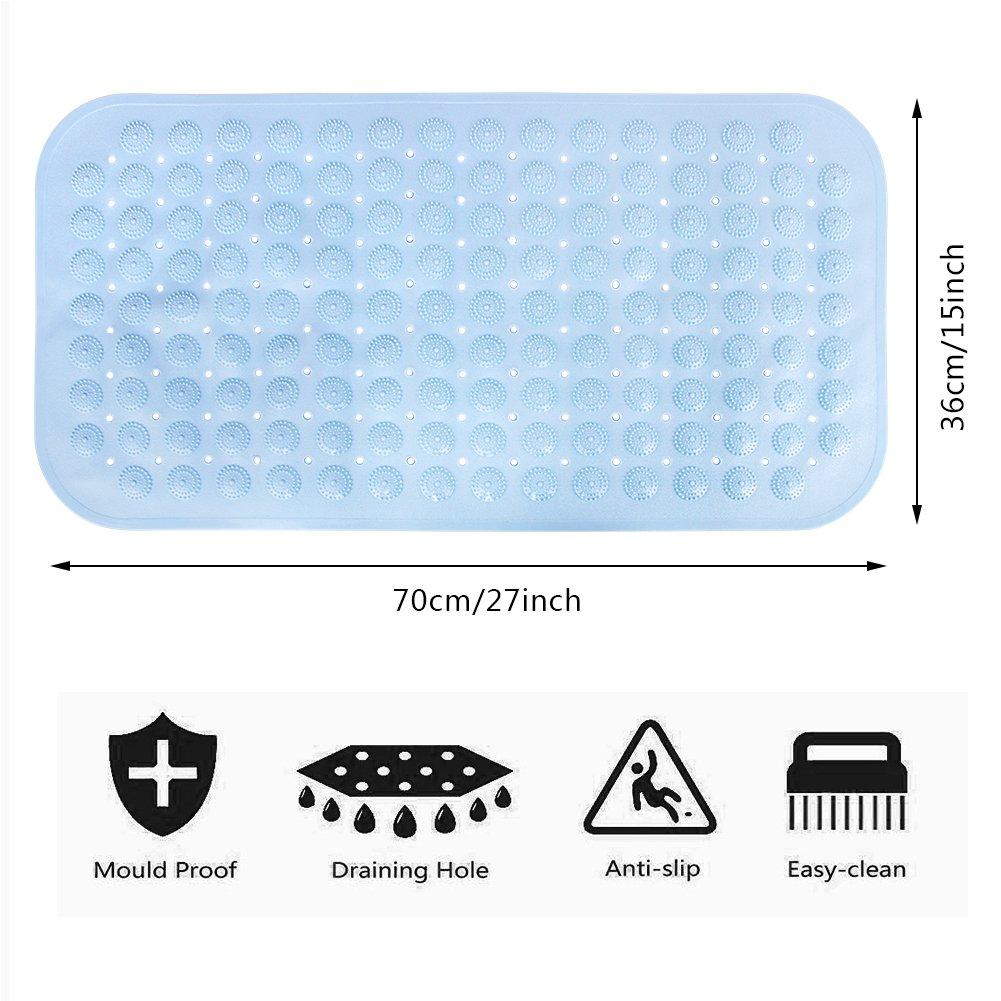 LIANGUS Non-Slip Shower Mat Blue Dirty Resistant Bath Mat Anti-Slip Mat for Bathroom Toilet Kitchen