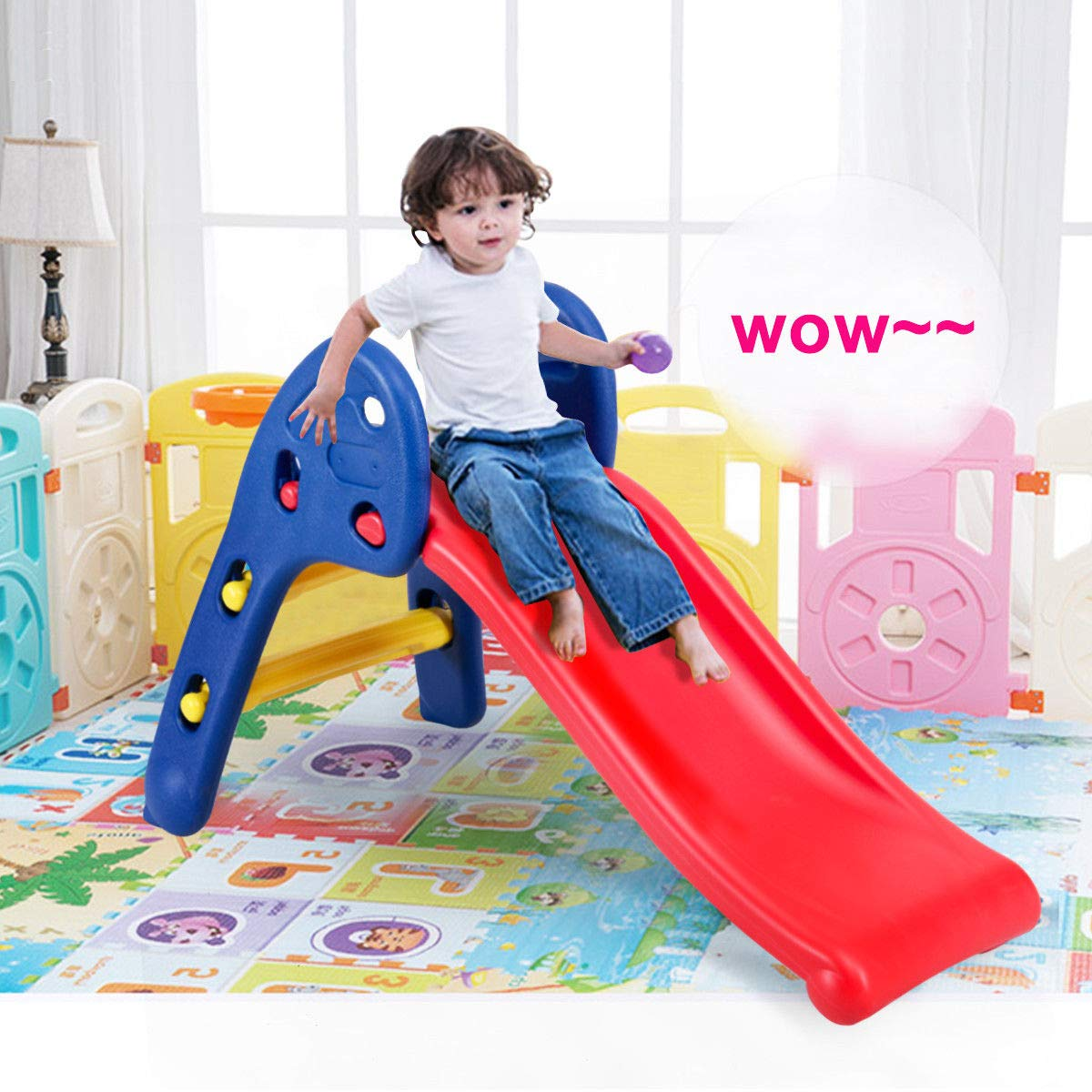Heavens Tvcz Slide Plastic Folding Kids Fun Toy Up-Down Children Play Fun Step Rails Toddler Big High Side Portable Outdoor Indoor by Heavens Tvcz (Image #2)