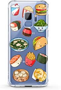 Anreda TPU Case Compatible for Samsung A72 A90 A71 A12 5G A11 A10 A50 A30 A20 A9 Flexible Sushi Girls Fast French Kawaii Design Soft Print Food Junk Cute Clear Fries Smooth Slim fit Gift Cover Taco