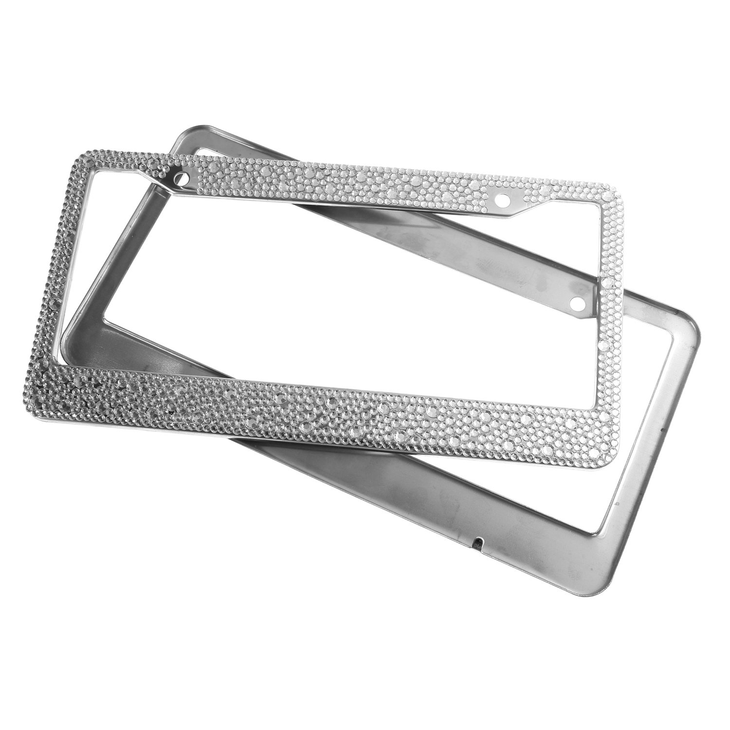 Luxury Handmade Mixed Size Clear Bling Crystal License Plate Frame Cute Rhinestone Car//Truck//SUV License Plate Holder 2 Frames