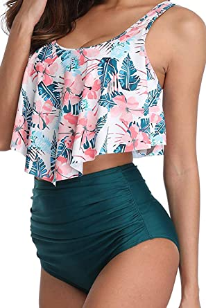 55f6a887a8864 2019 Women Swimsuit Two Pieces Bathing Suit Bikini Top Ruffled Racerback  with High Waisted Bottom Swimwear