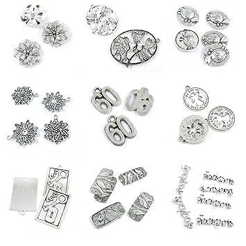Amazon com: 34 Pieces Antique Silver Tone Jewelry Making