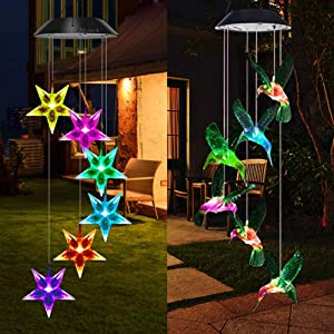 Mosteck Wind Chimes Outdoor Solar,Hummingbird Wind Chimes & Stars Wind Chimes Color Changing Lights Mobile Wind Chime