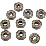 10 Pcs 17mm x 6mm x 6mm Single Row Shielded Deep Groove Ball Bearing 606ZZ