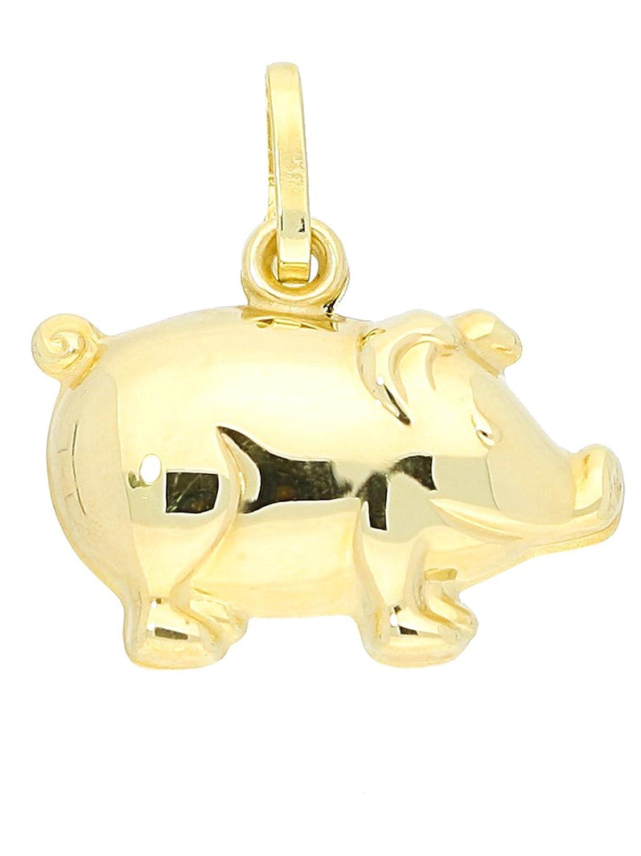 MyGold Glü cksschwein-Anhä nger (ohne Kette) Gelbgold 333 Gold (8 Karat) Schwein Schweinchen 17mm x 16mm dreidimensional Goldanhä nger Kettenanhä nger Goldkette Halskette Goldschwein Piggy MOD-03743 MOD-03743-V0004171