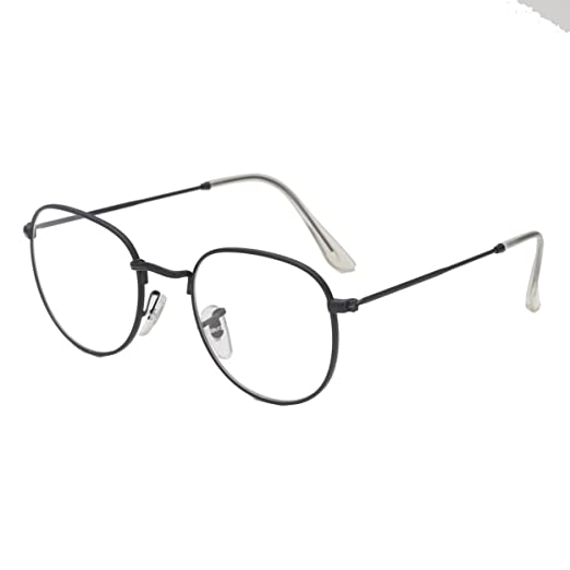 a1a43f60b9e08 Image Unavailable. Image not available for. Color  Simvey Oval Vintage  Designer Round Circle Eye Glasses Metal Frame Clear Lens 51mm