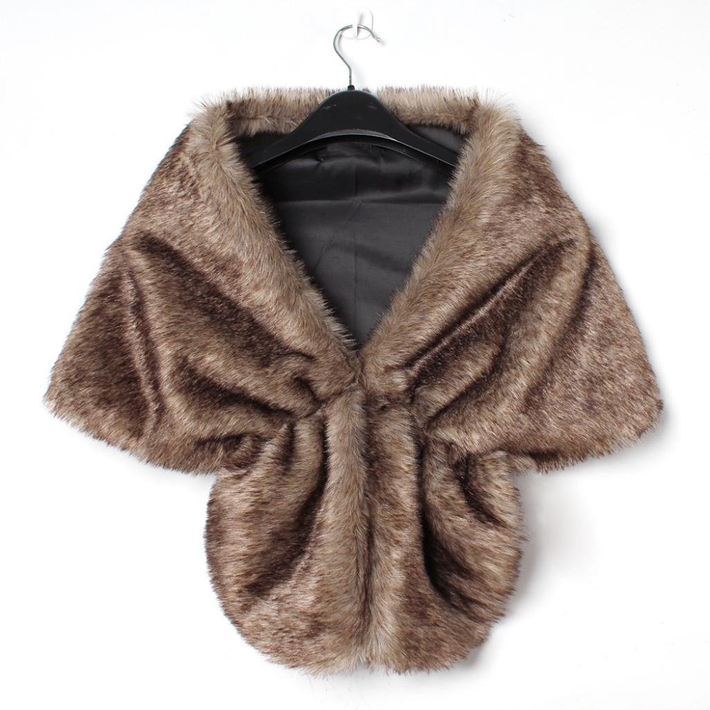 Freshzone Winter Women Elegant Bridal Wedding Faux Fur Long Shawl Stole Wrap Shrug Warm Scarf (Brown)
