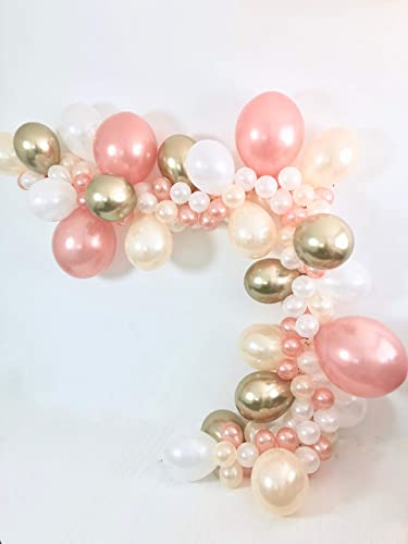 bd2af0fda43 Image Unavailable. Image not available for. Color  DIY Rose Gold White  Peach Chrome Gold Balloon Garland Kit ...