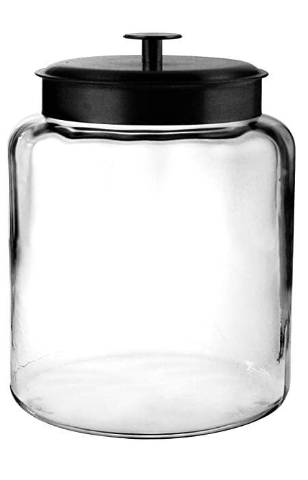 Anchor Hocking Montana Glass Jar with Fresh Sealed Lid, Black Metal, 2 Gallon