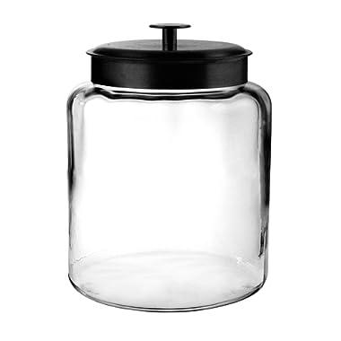 Anchor Hocking Montana Glass Jar with Fresh Sealed Lid, Black Metal, 2 Gallon