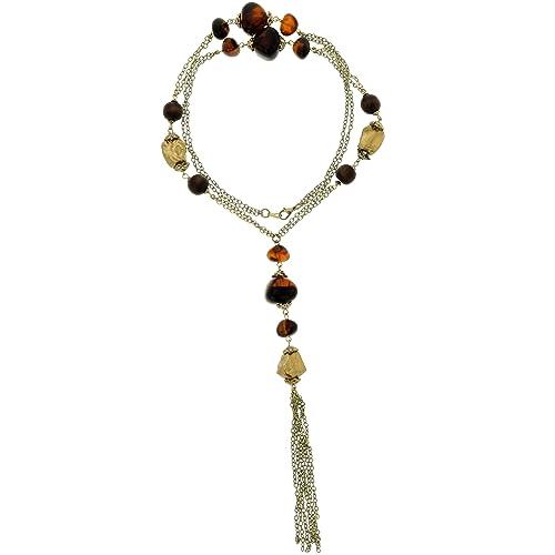439350d271df Collar de Cuentas Multicolores Color Dorado - Collar de borlas con  Colgantes Largos - Collar Colgante para Mujer  Amazon.es  Joyería