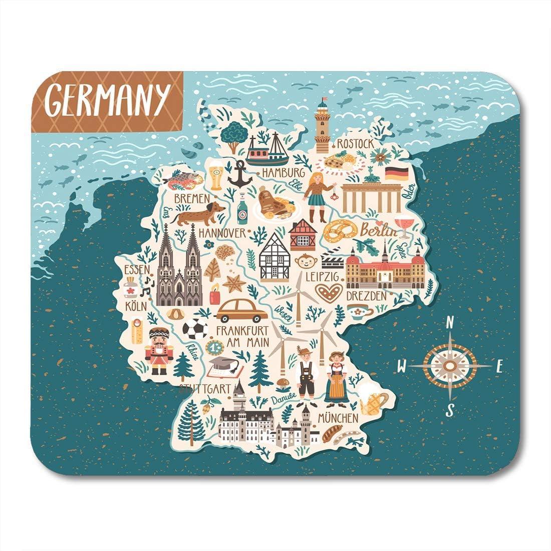 Mouse Pads Bavarian Berlin Mapa de Alemania Viaje con ...