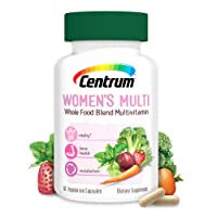 Centrum Whole Food Multivitamin for Women, with Vitamin C, Vitamin D, Zinc, Non-GMO+Vegetarian + Gluten Free Supplement,30 Day Supply - 60 Capsules