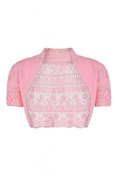 4f21a57e2b2 Forever Womens Short Sleeves Knitted Bolero Crochet Cardigan Shrug Top