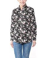 Dioufond Camisa de Mujer Manga Larga de Algodón Flor Patrón Botón Abajo Blusa Delgada con Cuello Vuelto y Puño Gemelos Top de Mujer - Trabajo/Verano