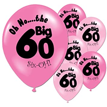 10 Fuschia And Pink 60th Birthday Party Balloons Amazoncouk Toys Games