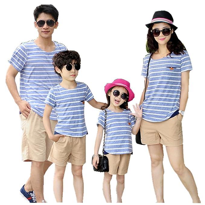 Mchild 親子お揃い服 半袖Tシャツ&パンツの2点セット 横縞 ペア