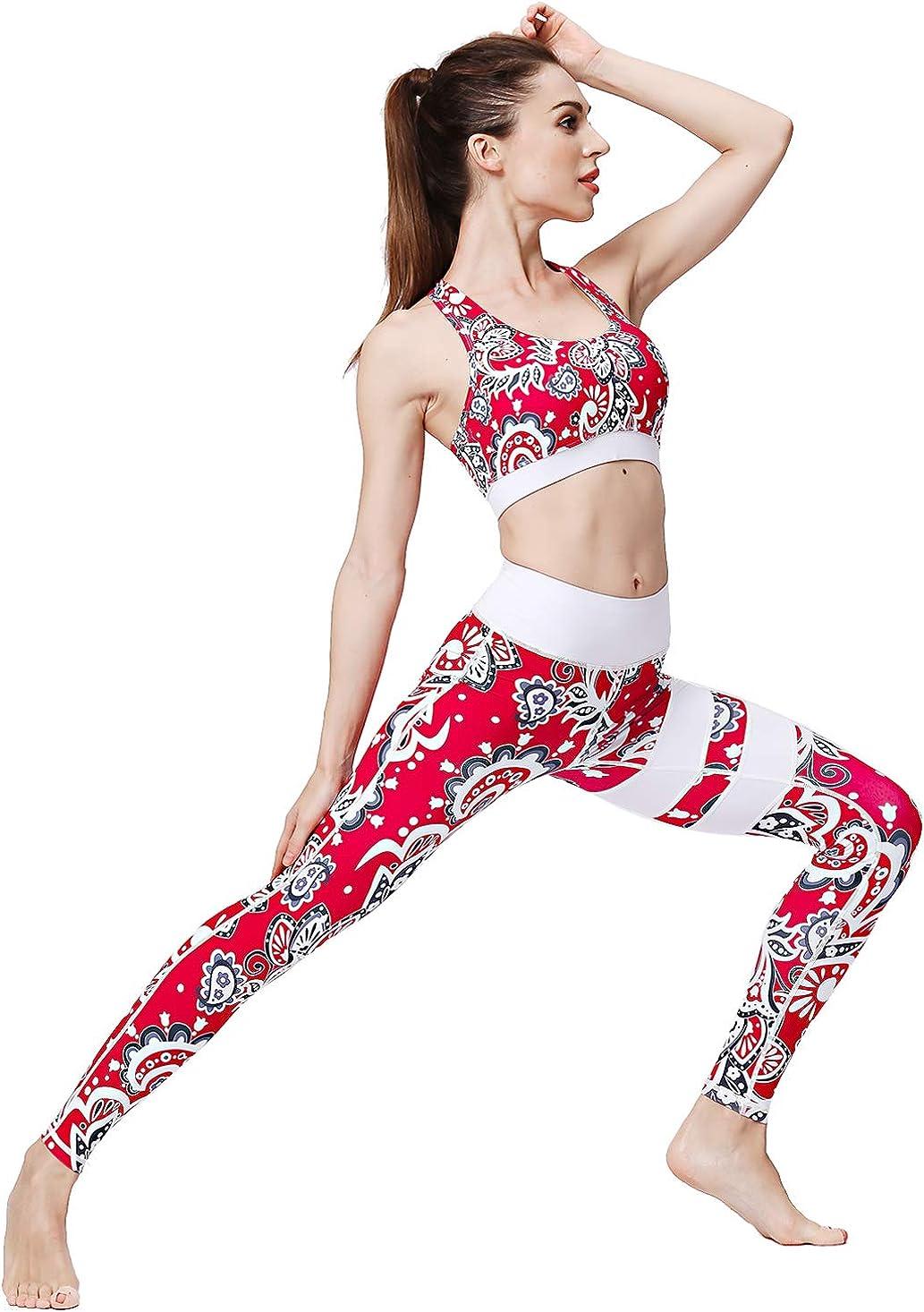 FLYILY Cintura Alta El/ásticos Pantalones de Yoga Para Mujer Leggings para Correr Entrenamiento Fitness