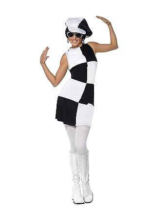 82f9e3b83 Smiffy's Smiffys-21142M Disfraz de Fiesta Chica años 60, con Vestido y  Sombrero , Color Negro y Blanco, M - EU Tamaño 40-42 21142M