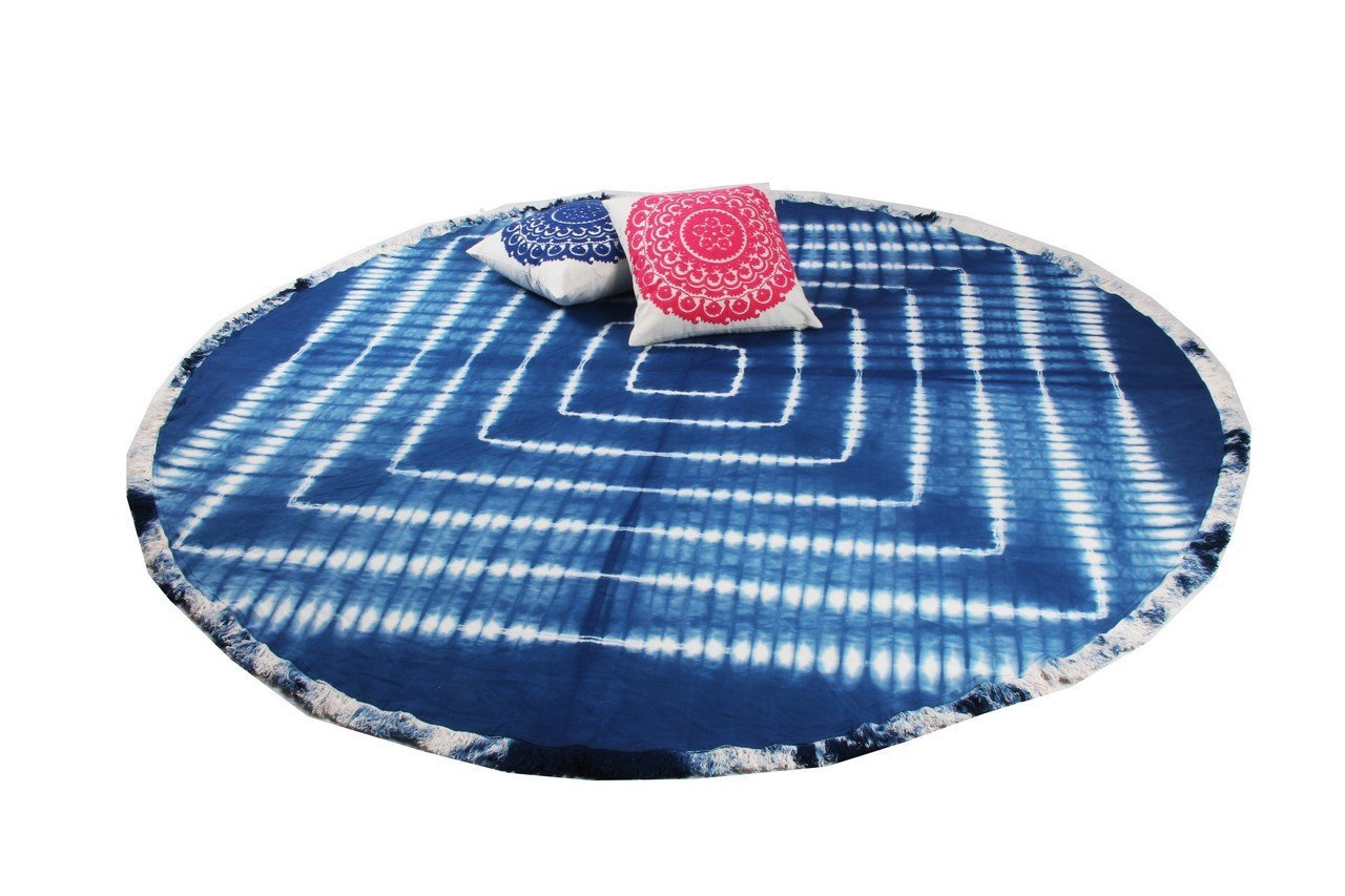 Amazon.com: Mango Gifts Indigo Tie-Dye Round Roundie Beach Throw Indian Tapestry, Hippie Yoga Mat Decor: Home & Kitchen