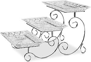 James Scott Crystal 3-Tiered Rectangular Serving Stand - Beautiful Gift Box