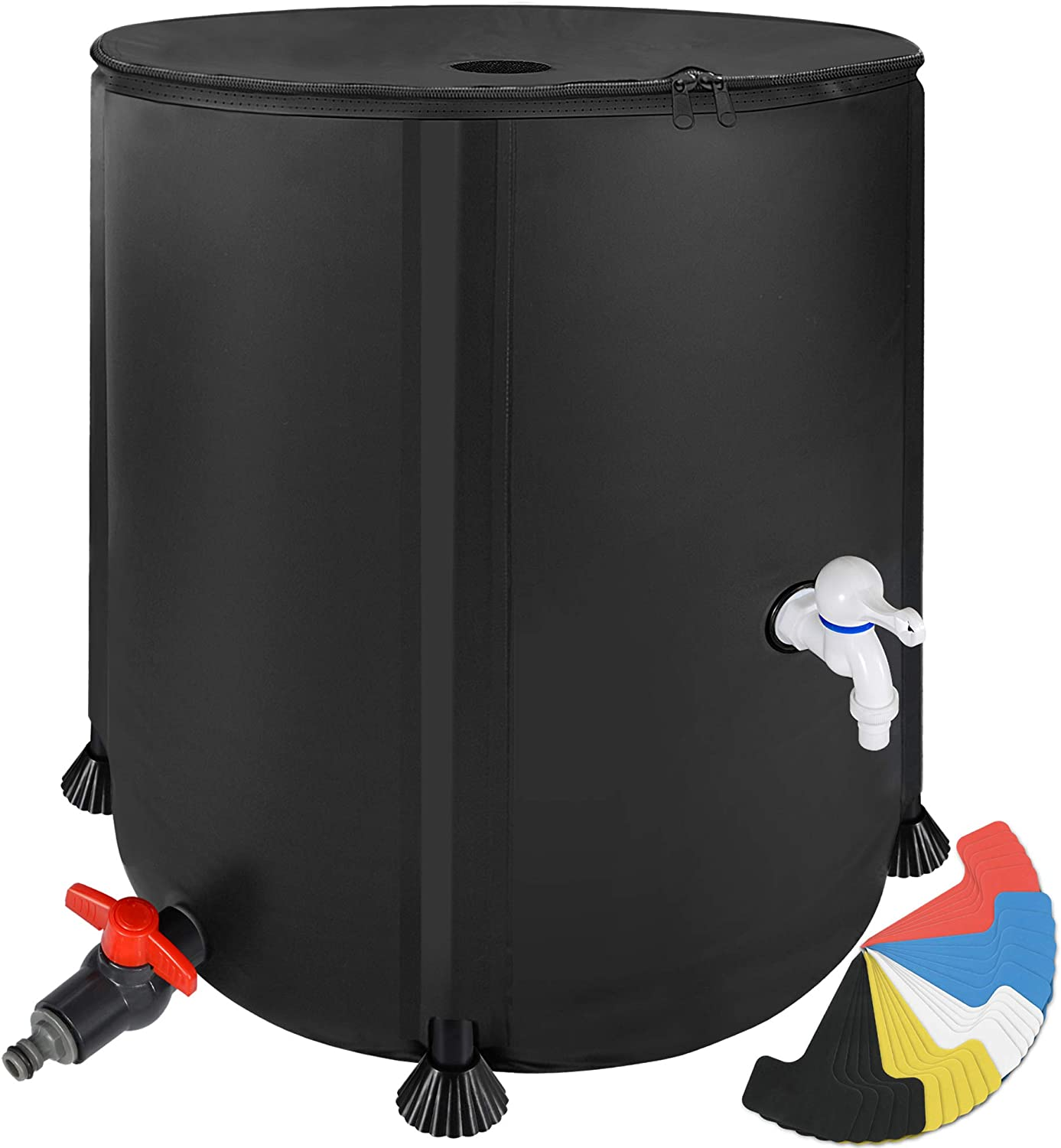 53 Gallon Portable Rain Barrel Water Tank - Collapsable Rainwater Collection System Storage Container - Water Collector Barrels Include Two Spigots and Overflow Kit - Comes with 25 Garden Labels