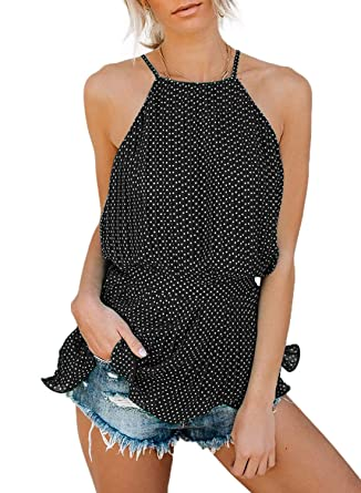 d443d599069cc Women s Summer Casual Sleeveless Halter Polka Dot Pleated Tie Back Chiffon  Tank Tops Black