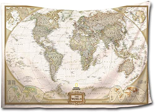 HMWR Ancient World Map Tapestry Wall Hanging Art Decor Light-Weight Polyester Fabric Wall Throw Artwork Home Decoration for Living Room Bedroom Dorm 90×60 Inch