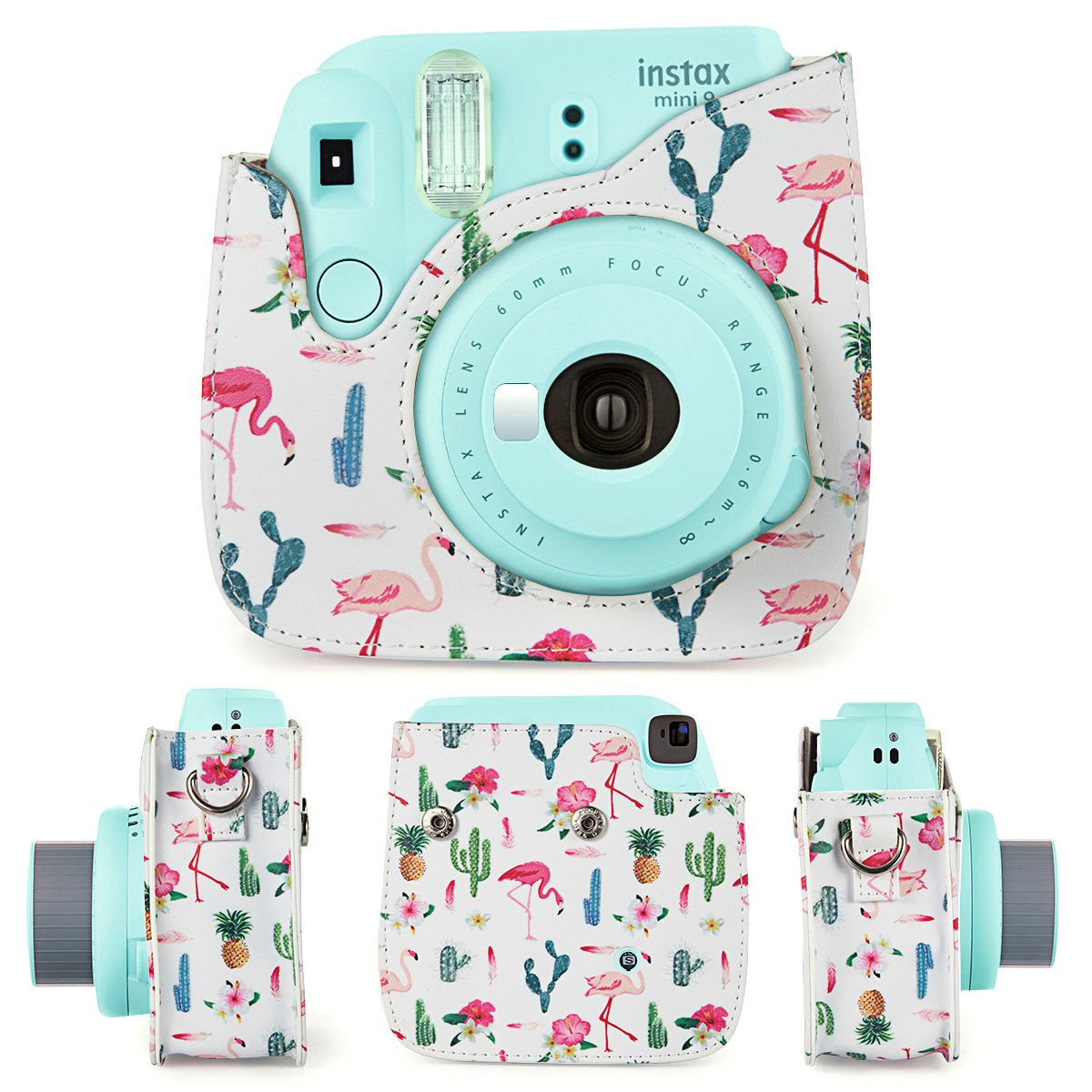 CAIUL Compatible Mini 9 Camera Case Bundle with Album Smile Filters and Other Accessories for Fujifilm Instax Mini 9 8 8+