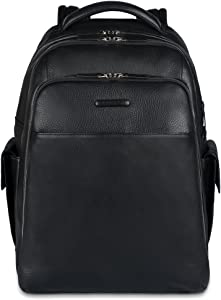 Piquadro Notebook Backpack with iPad Air Compartment Bottle Holder, Black