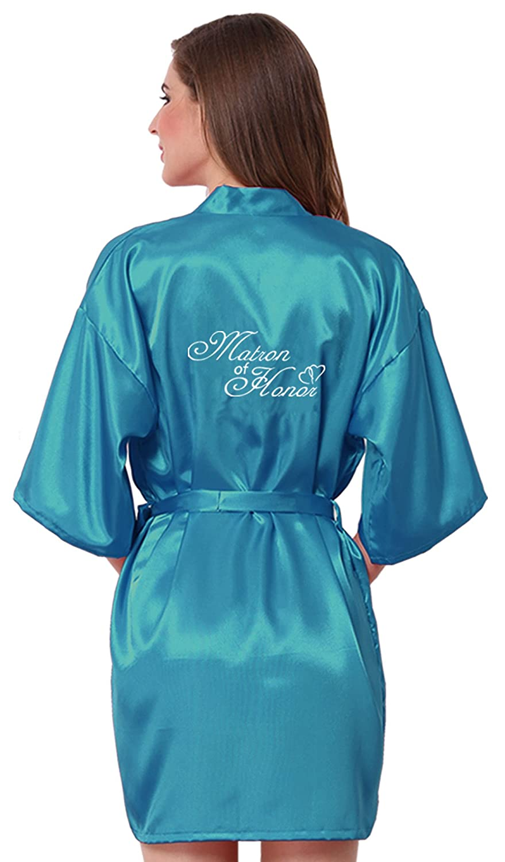 JOYTTON Women's Satin Kimono Wedding Robe with Embroidered Matron of Honor Short Believeyourself