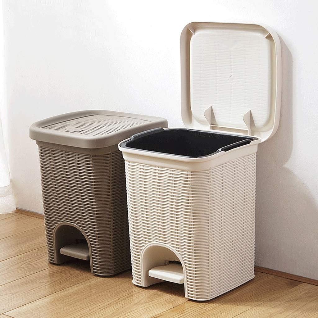 Papelera ambiental sala de estar con tapa imitaci/ón rat/án pedal grande hogar seguridad