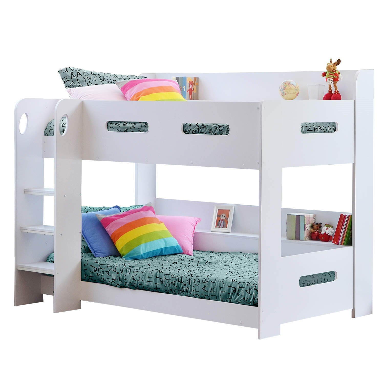 Sky Furniture White Kids Bunk Bed   Ladder Can Be Fitted Either Side! +  Storage Shelves + FREE UK Delivery: Amazon.co.uk: Kitchen U0026 Home
