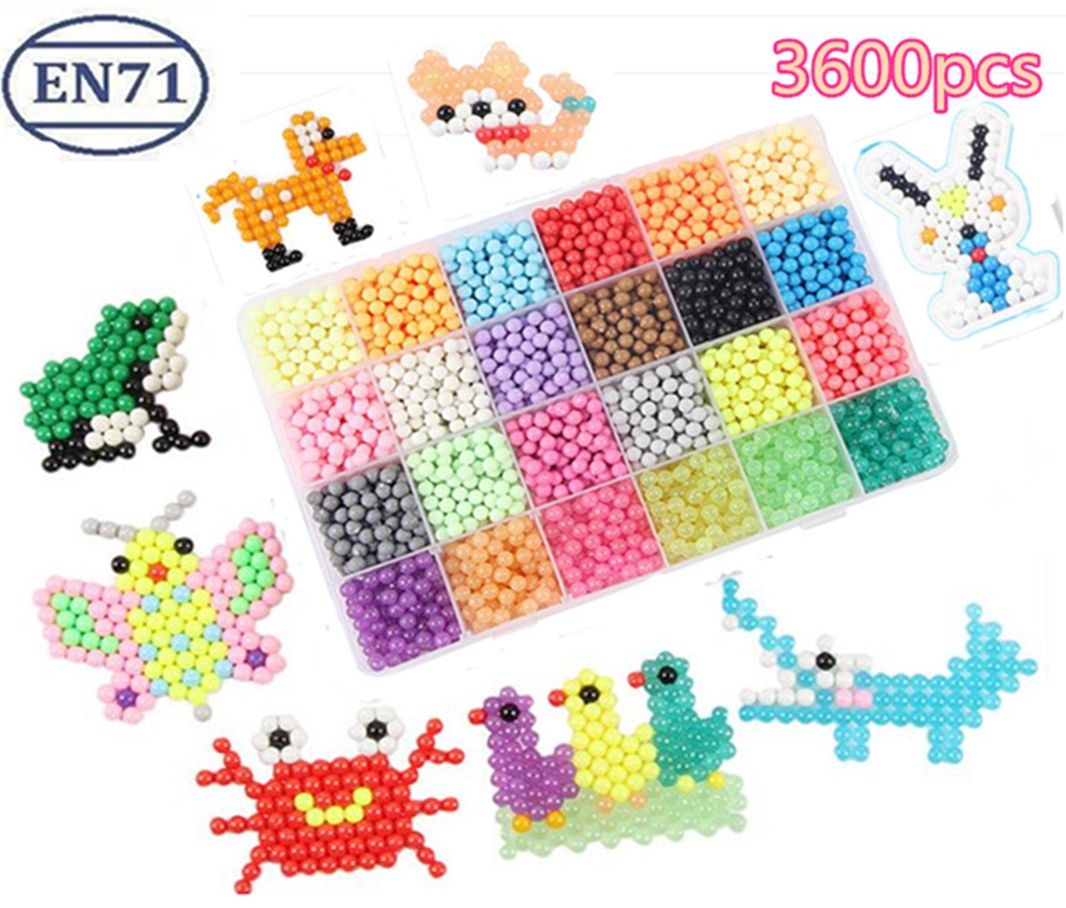 Vytung Water Fuse Beads Kit-3600 beads 24 colors(6 Jewel) 148 designs(48 full size) Mega Bead Refill Beads for Kids Beginners Activity Pack Compatiblt with Aquabeads(3600 beads complete set)