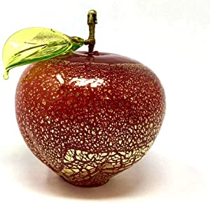 Murano Glass Blown Apple Figurine, Made in Italy