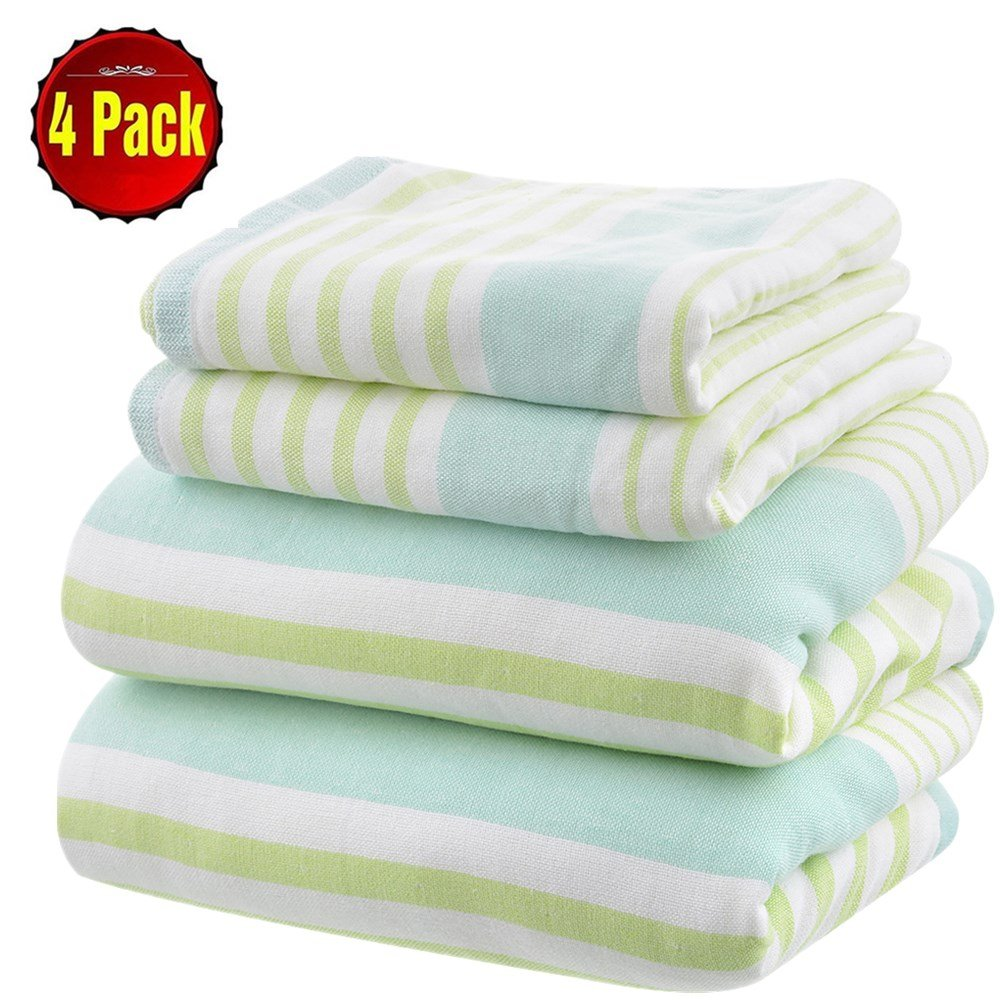 SearchI 400 GSM 4 Piece Stripe Towel Set 100% Long-staple Cotton Skin-friendly Fade-Resistant Super Soft Highly Absorbent Hotel Spa Bath Towel Green Beige