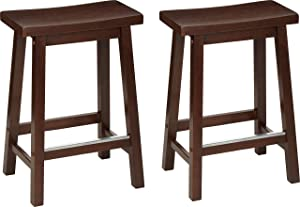 """AmazonBasics Classic Solid Wood Saddle-Seat Counter Stool with Foot Plate - 24"""", Walnut, 2-Pack"""