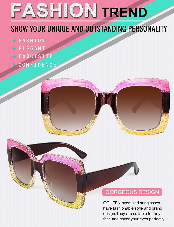 GQUEEN Oversized Damen Sonnenbrille mit Rechtecktigem Rahmen Mehrfach Get/önte Glitzer Design Inspirierte Stilvolle Brillen S904
