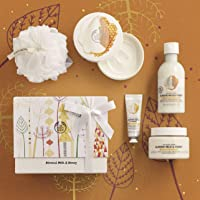 The Body Shop Almond Milk and Honey Premium Collection Gift Set, 4pc Paraben-Free Bath and Body Gift Set