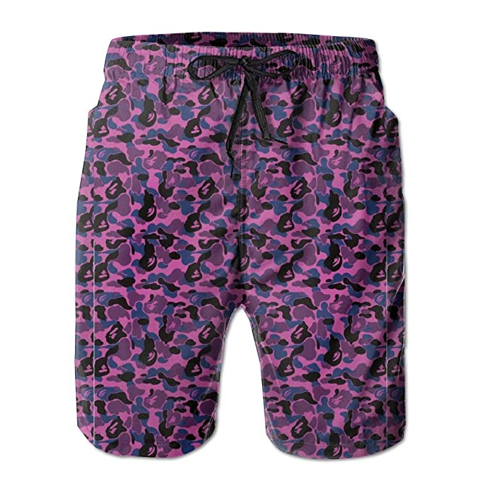 d1f6d34d162 Image Unavailable. Image not available for. Color  Quick-Dry Bape Shark  Pink Men s Swim Trunks Beach Board ...