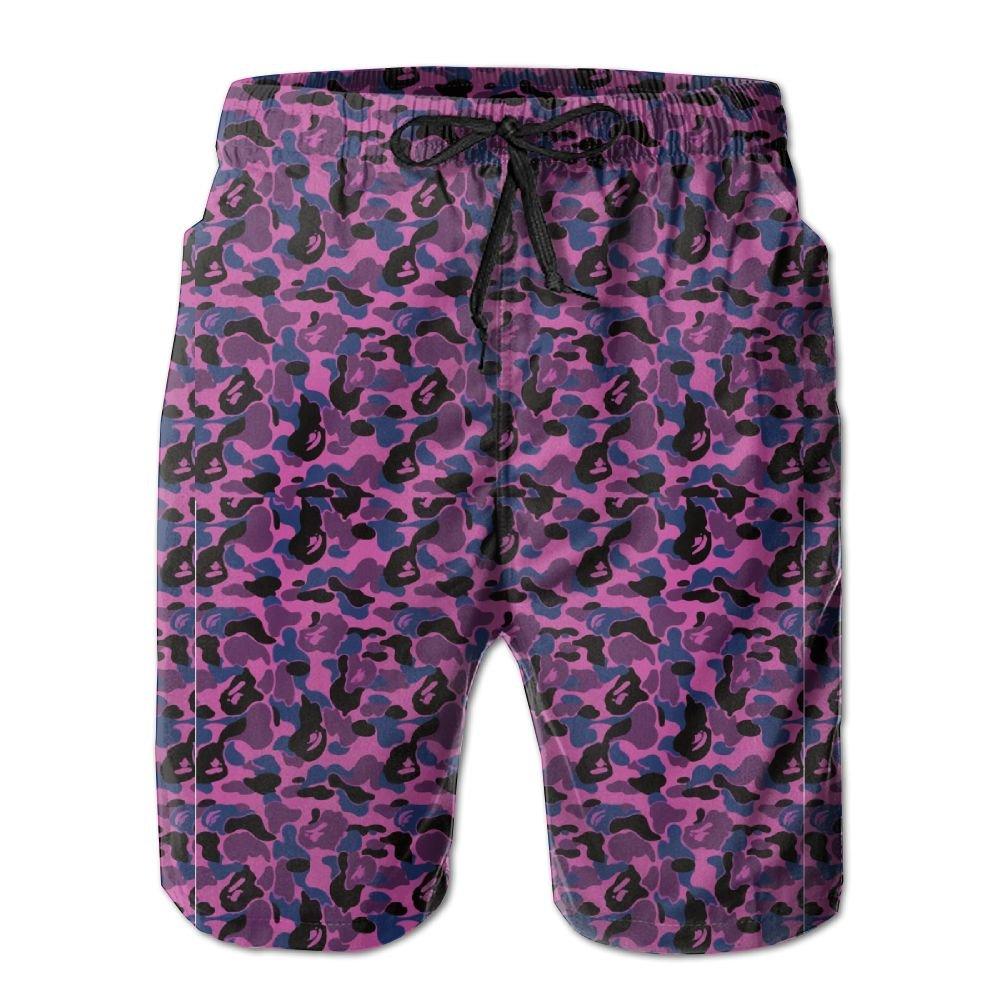 Quick-Dry Bape Shark Pink Men's Swim Trunks Beach Board Shorts Surfing Shorts Bathing Suits Swimwear