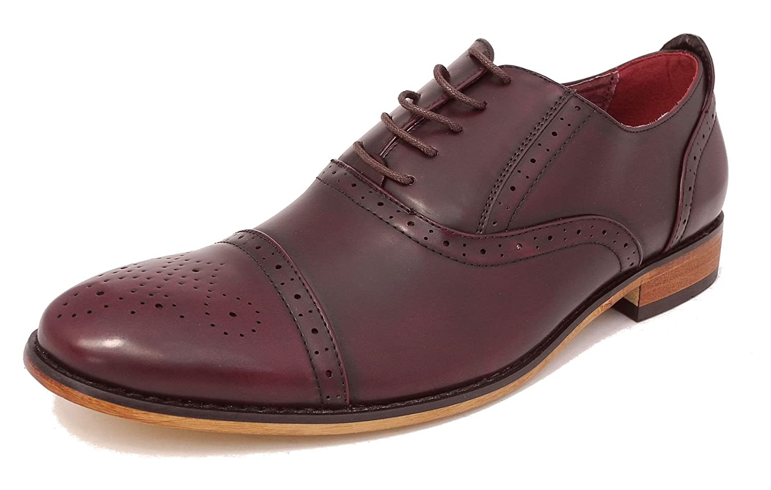Boys Leather Lined Smart Lace Up Oxford Brogues Shoes Oxblood Burgundy Size 11-5.5 Goor - Click Image to Close