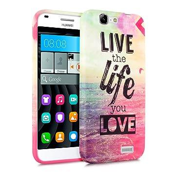 kwmobile Funda para Huawei Ascend G7 - Carcasa de [TPU] para móvil y diseño Live The Life You Love Rosa Fucsia Azul