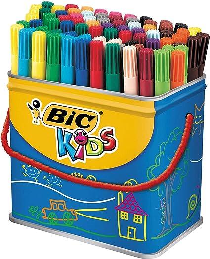 BIC Kids Visa rotuladores punta fina - colores Surtidos, Cubo de 84 unidades: Amazon.es: Oficina y papelería
