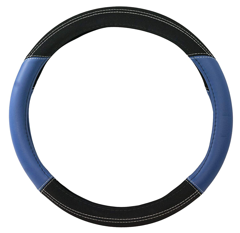 UKB4C Luxury Steering Wheel Cover Black /& Blue Suede Leather Look 37-39cm Diameter Universal Fit Protection