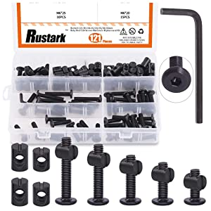 Rustark 121 Pcs Baby Bed Crib Screws Hardware Replacement Kit M6 15/20/25/30/35mm Hex Drive Socket Cap Screws Barrel Nuts Assortment Kit with One Free Hex Key for Beds Headboards Chairs Furniture