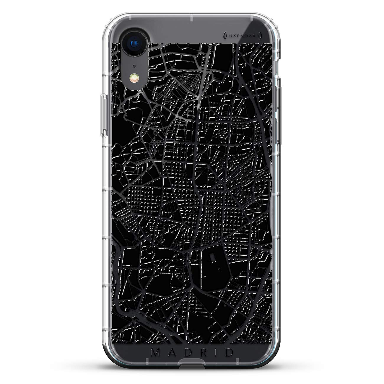Madrid Streets Map | Luxendary Air Series Clear Silicone Case with 3D printed design and Air-Pocket Cushion Bumper for iPhone XR (new 2018/2019 model with ...